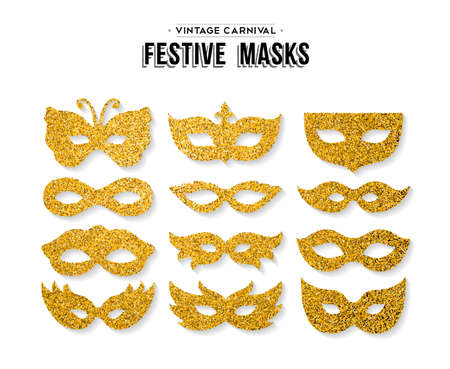 Gold carnival masks template set made of golden glitter dust. Luxury party costume isolated over white background. EPS10 vector.