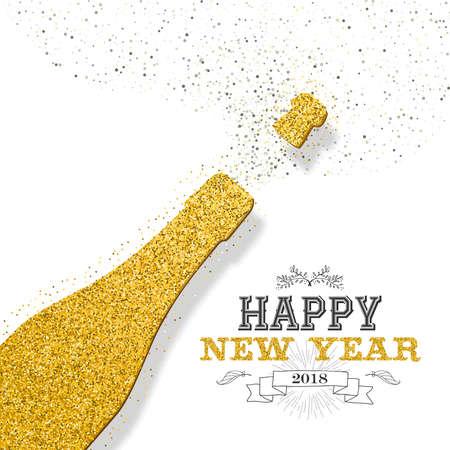Szczęśliwego nowego roku 2018 luksusowych złota butelka szampana ze złotym pyłem brokatu. Idealny na kartkę z życzeniami lub eleganckie zaproszenie na przyjęcie świąteczne. Eps10 wektor.
