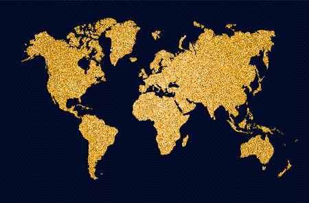 Illustration de concept symbole carte monde, icône de géographie planète or faite de poussière de paillettes dorées sur fond noir. Vecteur EPS10.