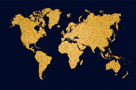 World map symbol concept illustration, gold planet geography icon made of golden glitter dust on black background. EPS10 vector.