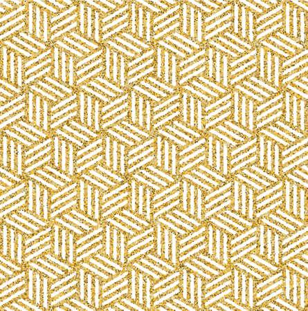 金のきらめきの質感から成っている抽象等角の3d 立方体の継ぎ目が無いパターンの背景。生地の設計、包むペーパー印刷およびウェブサイトの背景  イラスト・ベクター素材