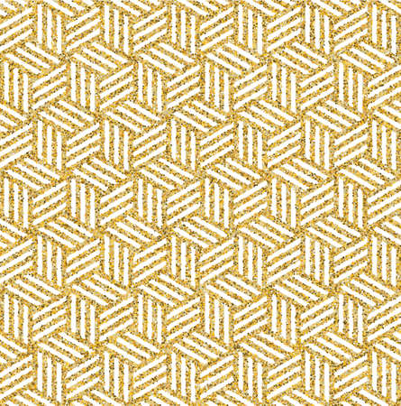 Abstract isometric 3d cube seamless pattern background made of gold glitter texture. Ideal for fabric design, wrapping paper print and website backdrop.
