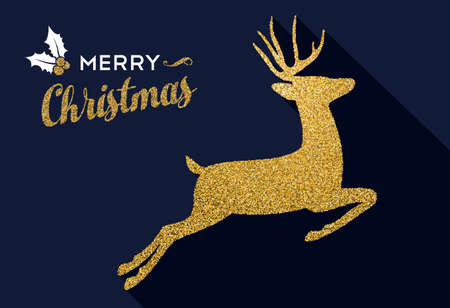 Merry Christmas gold luxury holiday greeting card. Xmas reindeer made of golden glitter texture. EPS10 vector.