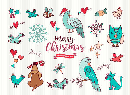 Merry Christmas Happy New Year cute festive cartoon element collection. Set of hand drawn holiday animals, includes puppy dog, xmas dove and owl. EPS10 vector. Illustration