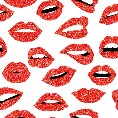 Girl mouth seamless pattern, woman lip with red color glitter lipstick expressing emotions and gestures. EPS10 vector. Çizim