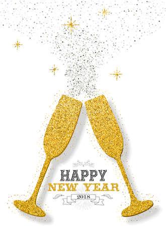 Gelukkig nieuw jaar 2018 luxe goud viering toast gemaakt van gouden glitter stof. Ideaal voor wenskaart of elegante uitnodiging voor een feestje. EPS10 vector. Stock Illustratie