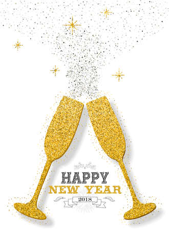 Happy new year 2018 luxury gold celebration toast made of golden glitter dust. Ideal for greeting card or elegant holiday party invitation. EPS10 vector.