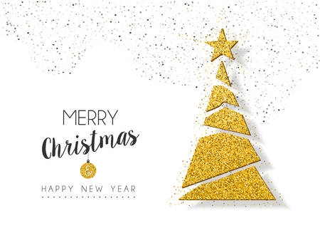 Merry Christmas and happy New Year gold xmas pine tree ornament made of golden glitter dust, holiday greeting card design. EPS10 vector. Illustration