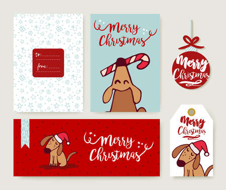 layout: Merry christmas hand drawn holiday template set with cute puppy cartoon illustration. Includes xmas tag, label and greeting card. Illustration