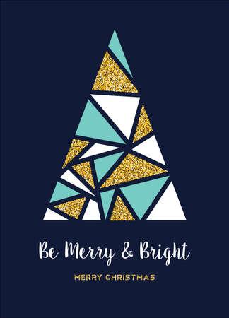メリークリスマスゴールドの贅沢な休日のグリーティングカード。黄金のきらめきの質感で作られた抽象クリスマスパインツリー。  イラスト・ベクター素材