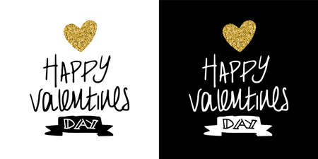 Golden valentines day romantic typography quote for lettering decoration. Hand drawn love element in gold glitter. EPS10 vector. Ilustração