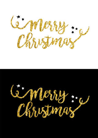 Gold merry Christmas text quote, calligraphy lettering design for holiday season made of golden glitter. Creative vintage typography font illustration. EPS10 vector. Stock Vector - 86471229