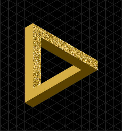 Abstract gold glitter impossible triangle sign, retro optical effect shape with isometric grid background. EPS10 vector file.
