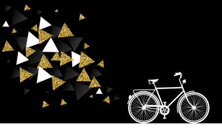 Modern gold bike concept, bicycle silhouette with geometry shapes abstract design made of golden glitter texture. EPS10 vector.