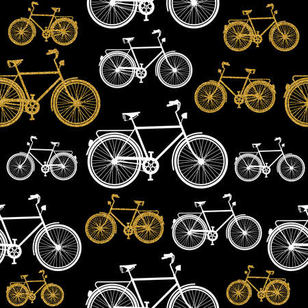 Gold glitter bike seamless pattern, elegant concept design with bicycle silhouette in golden color. EPS10 vector.