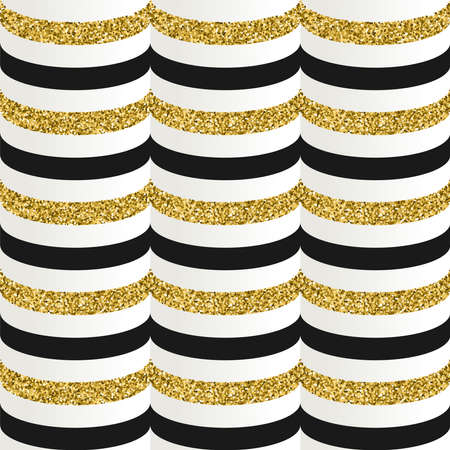 Gold seamless pattern made of golden glitter texture, geometric luxury background with stripes. EPS10 vector.
