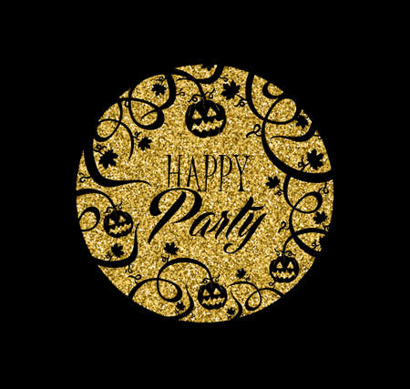 Gold halloween party invitation card, holiday jack o lantern pumpkin made of golden glitter texture. EPS10 vector.