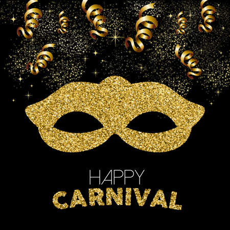 Gold carnival celebration design. Costume mask made of golden glitter with text quote, party streamers and confetti. EPS10 vector.