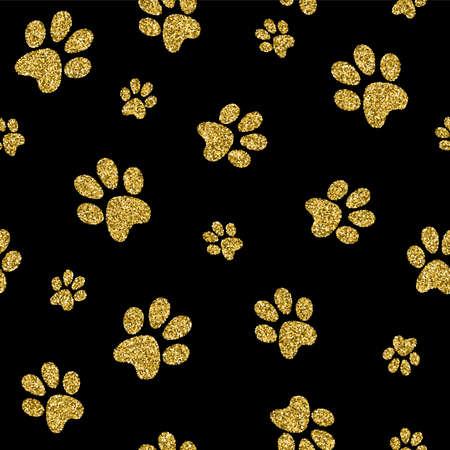 ゴールド犬の足ペット背景金色キラキラで豪華でシームレスなパターン。犬の製品に最適です。EPS10 ベクトル。