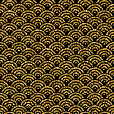 Elegant golden Oriental abstract wave seamless pattern background made of gold glitter. EPS10 vector.