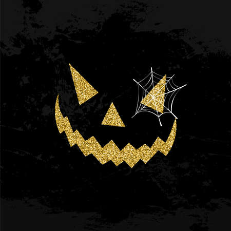 Halloween face symbol concept illustration, jack o lantern icon made of gold  glitter dust on black background. EPS10 vector.