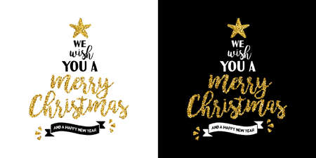 Gold merry Christmas santa hat text quote, calligraphy lettering design for holiday season made of golden glitter. Creative vintage typography font illustration. EPS10 vector.