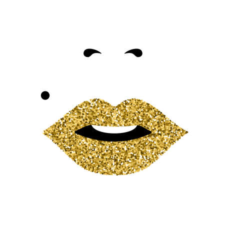 Girl gold glitter face close up portrait with lipstick and classic makeup look. Concept art for international womens day. EPS10 vector. Иллюстрация