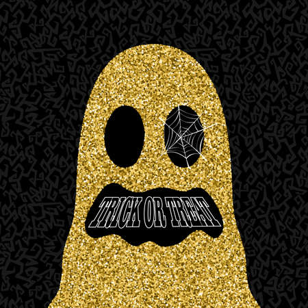 Happy Halloween gold trick or treat ghost illustration, holiday design made of golden glitter texture. EPS10 vector.