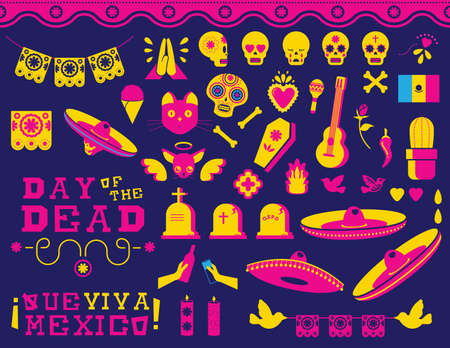 Day of the dead traditional Mexican celebration icon set