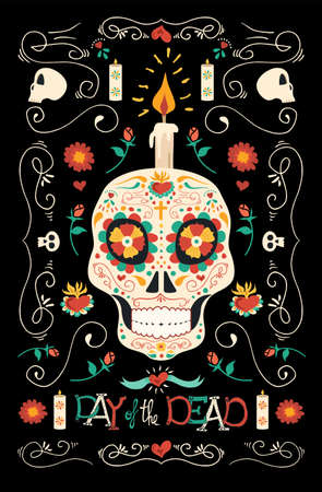 Day of the dead banner for Mexican celebration Çizim