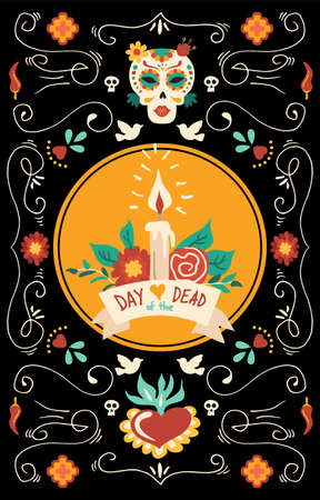 Day of the dead banner for Mexican celebration Illusztráció