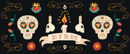 Day of the dead banner for Mexican celebration Ilustração