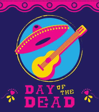 traje mexicano: Bandera del día de muertos para la celebración mexicana