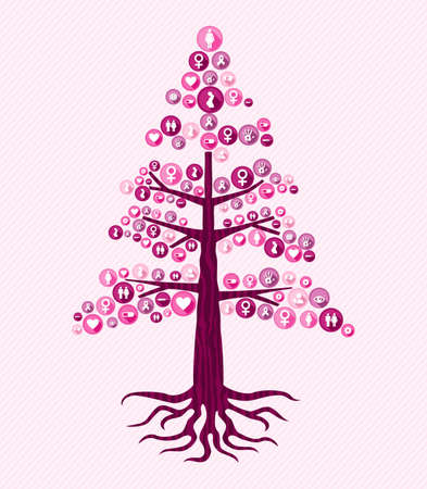 Breast cancer awareness month concept illustration for help and support. Tree design with pink women health care icons. EPS10 vector. Illustration