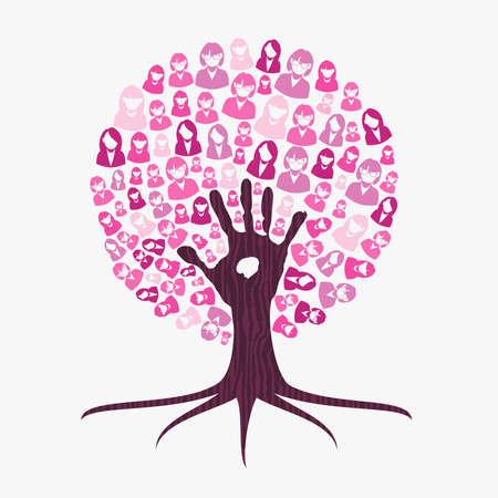 Breast cancer awareness month concept illustration for help and support. Tree made of pink helping hand. EPS10 vector.