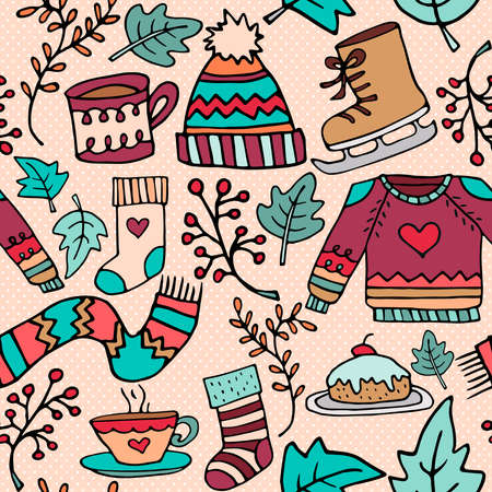 Christmas hand drawn seamless pattern, doodle element holiday background with cute winter decoration, clothing, food and ornamental leaves. EPS10 vector. Illustration