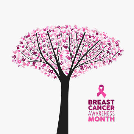 Breast cancer awareness month concept illustration for support. Tree made of pink campaign ribbons with positive text quote. EPS10 vector. Ilustração