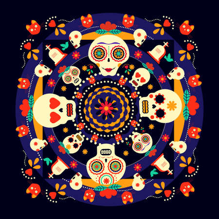 Mexican day of the dead celebration art, happy skulls with traditional flower decoration. EPS10 vector.