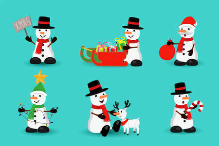 Christmas holiday set of cute snowman cartoons in different poses. reindeer, winter sledge, santa claus. EPS10 vector.