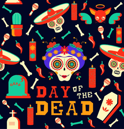 Mexican day of the dead seamless pattern art, happy skull with traditional decoration. Includes mariachi hat, chihuahua dog, food icons. EPS10 vector. Stock Vector - 90232431