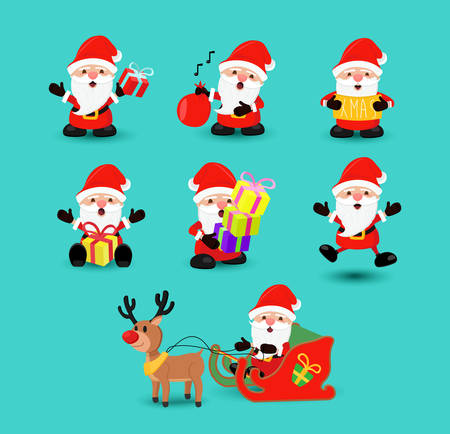 Christmas holiday set of cute santa claus character cartoons in different poses and emotions. Illustration