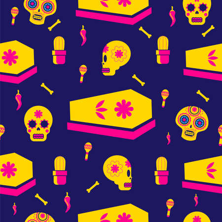 Mexican day of the dead seamless pattern art, sugar skull icons with traditional holiday decoration. EPS10 vector. Çizim