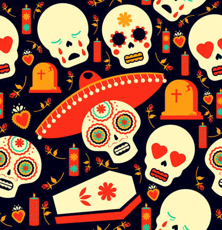 Mexican day of the dead seamless pattern art, skull emoji with traditional decoration. mariachi hat, flower, and grave icons. EPS10 vector.