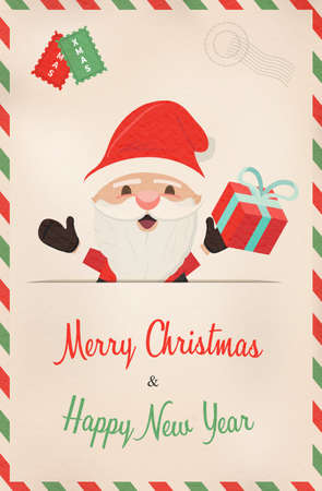 Merry Christmas and Happy New Year vintage greeting card illustration. Retro style postcard from north pole with cute santa claus cartoon. EPS10 vector.