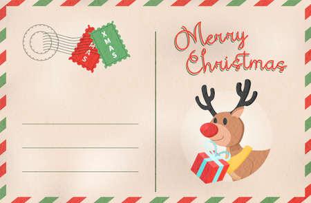 Merry Christmas postcard in traditional vintage mail style. Holiday greeting card from the north pole with cute reindeer cartoon. EPS10 vector. Illustration