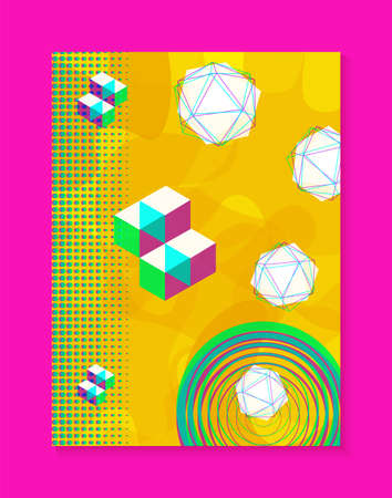 Abstract memphis background, retro fashion style design with gradients and shapes. Ideal for web project, brochure, flyer or invitation template. EPS10 vector.