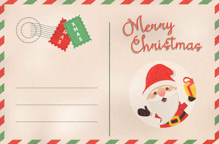 Merry Christmas postcard in traditional vintage mail style. Holiday greeting card from the north pole with cute santa claus cartoon.EPS10 vector.