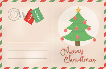 Merry Christmas vintage greeting card in traditional postcard mail style. Holiday design with xmas pine tree cartoon.EPS10 vector. Illustration