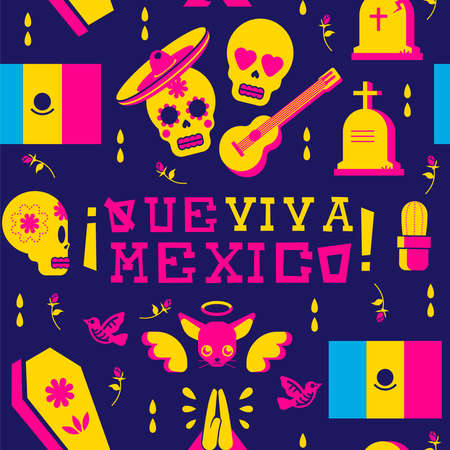 Mexico celebration seamless pattern art, happy sugar skull emoji for day of the dead. Includes mariachi hat, chihuahua dog, and guitar icons. EPS10 vector.