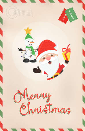 Merry Christmas vintage greeting card illustration. Retro style postcard from north pole with cute santa claus and snowman cartoon. EPS10 vector.